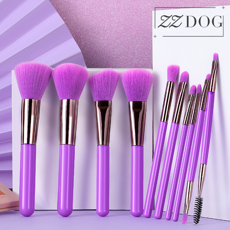ZZDOG Juego de brochas de maquillaje, 10 Uds., Color caramelo, sombra de ojos profesional en polvo, resaltar, base, brocha, herramientas cosméticas de belleza|rizador de pestañas| - AliExpress