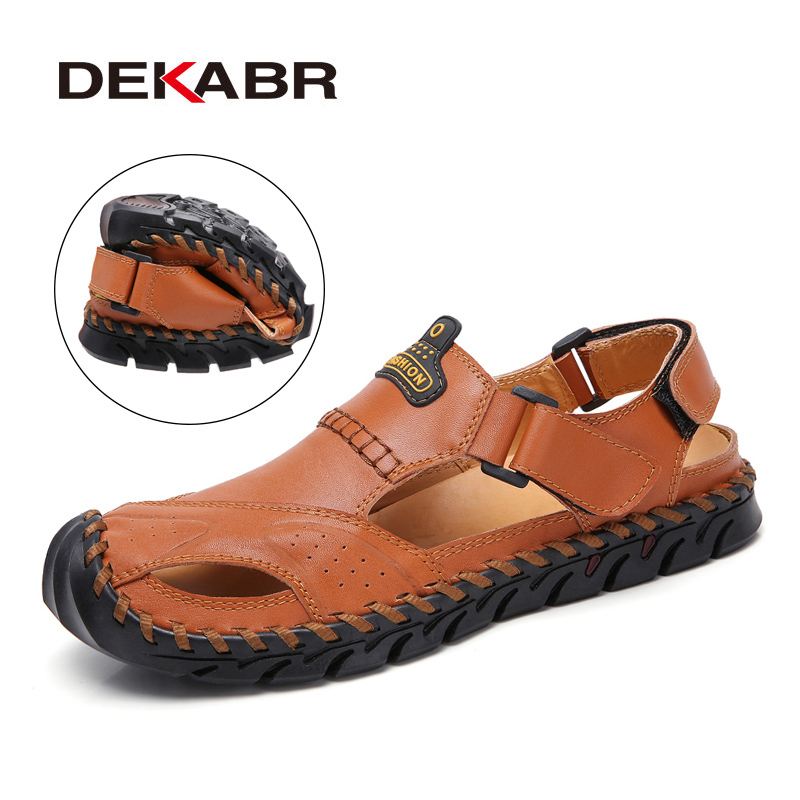 DEKABR New Genuine Leather Men Sandals Shoes Summer Leisure Beach Men's Sandals High Quality Sandals Slippers Big Size 38-46
