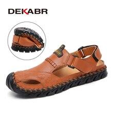 DEKABR جديد جلد أصلي للرجال الصنادل أحذية الصيف الترفيه شاطئ الرجال الصنادل عالية الجودة الصنادل النعال حجم كبير 38 46