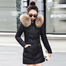 KMVEXO 2019 Slim Winter Jacket Women Hooded With Fur Collar Cotton Padded Female Coat Long Parka Mujer Invierno татуировка переводная heartbeat