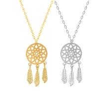 Style Dreamcatcher Pendant Mandala Lotus Necklace Yoga feather Stone Jewelry Dream Catcher