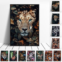 Animal in flowers Canvas Painting wall art Lion poster Tiger Elephant Elk Orangutan picture Modern Classical Decorative Painting