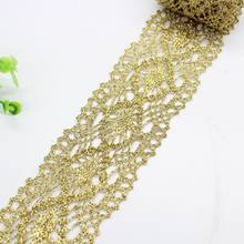 1 metros de alta qualidade ouro laço tecido fita guarnição guipure cortina applique 5cm rendas costura vestido decoração dentelle vg22