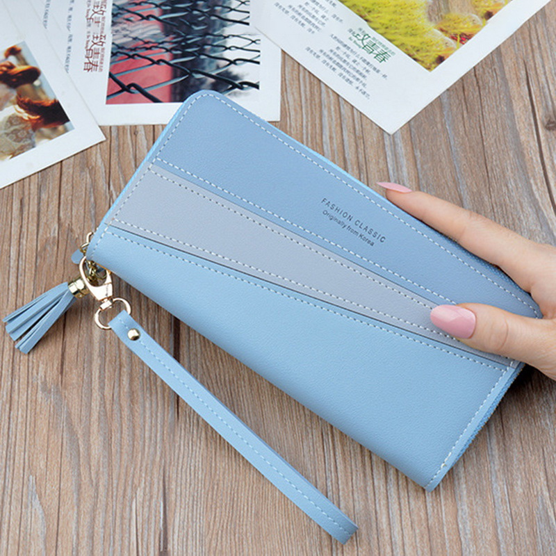 Dihope Women's Zipper Closure Spliced Wrist Strap Tassel Wallet For Girls New  Fashion Phone Coin Long Purse Card Holder