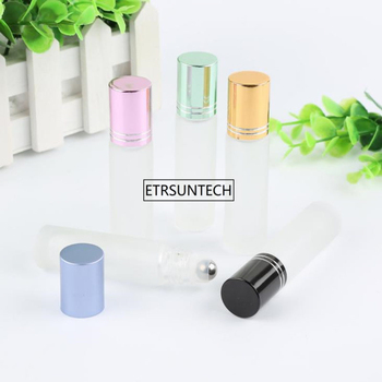 100pcs 10ml transparent frosted Roll on bottles for Essential oil with aluminum cap Perfume Bottle&Glass Roll Ball F3343