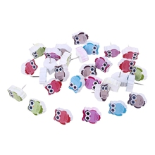30pcs Cute Owl Shaped Pushpin Fixed Wall Decorative Thumbtack Pins for Whiteboard Photos Maps School Office Supplies T3EB