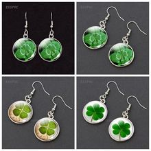 Lucky Clover Dangle Earrings Four Leave Glass Cabochon Eardrop Jewelry for Women Fashion Accessories