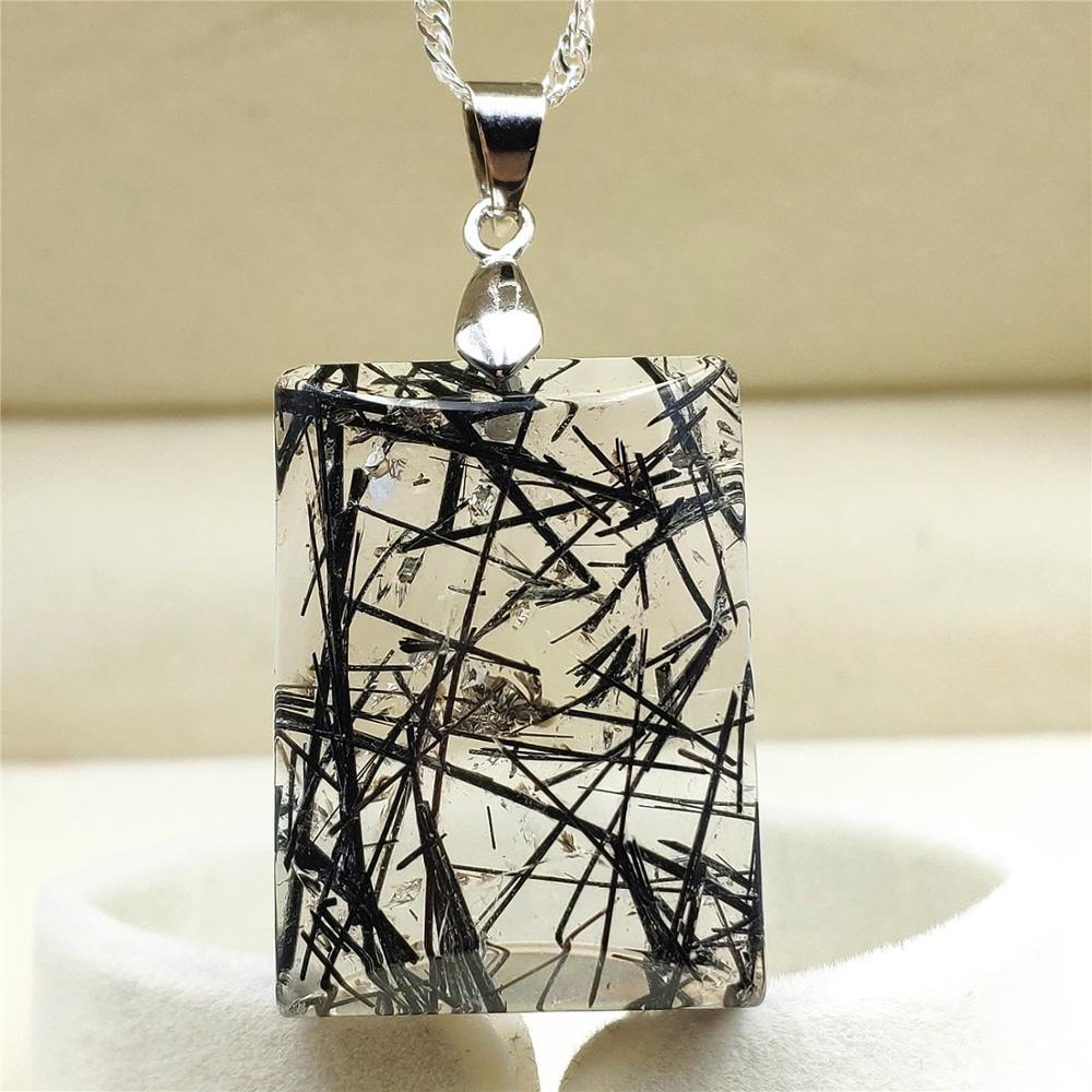 Natural Black Moonstone Crystal Gemstone Rectangle Bead Pendant