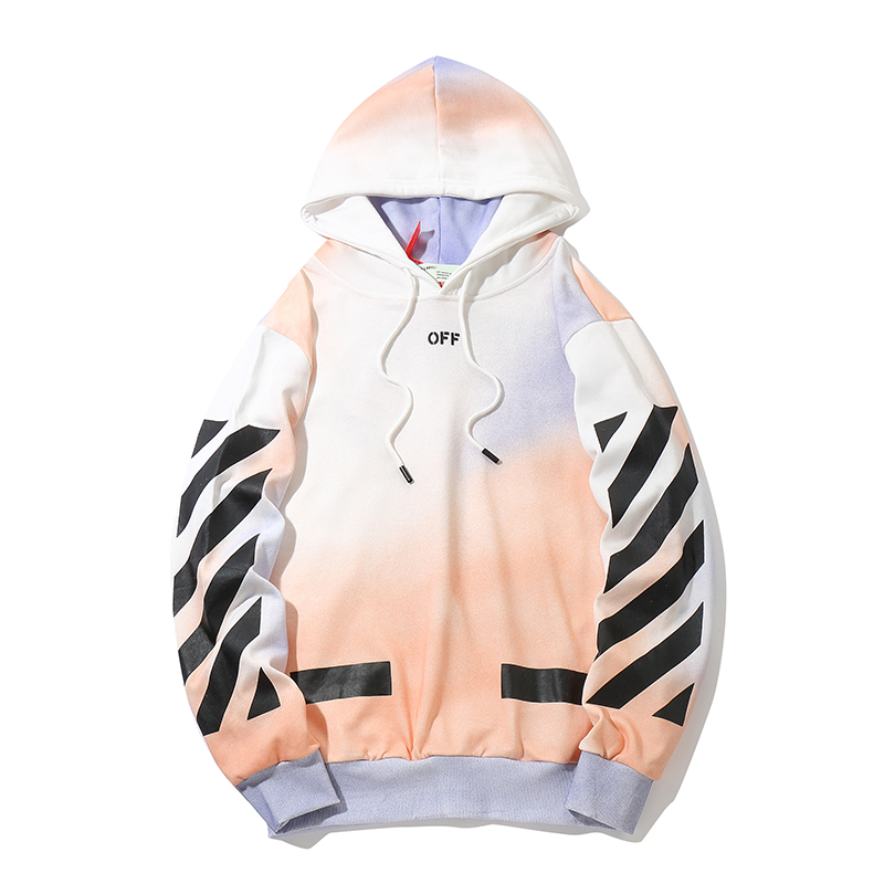 Rendering Gradient 19ss Off-White OW Men Women Lovers Autumn Winter Cotton Fashion Streetwear Hooded Jacket Hoodie Sweatshirt