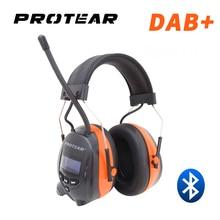Protear DAB +/DAB/วิทยุ FM Hearing Protector 25dB แบตเตอรี่ลิเธียม Earmuffs อิเล็กทรอนิกส์บลูทูธหูฟังป้องกันหู