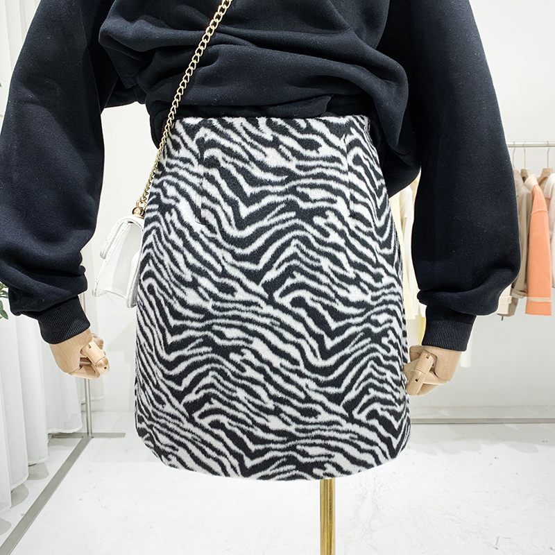 Flectit Fuzzy Zebra Skirt For Women High Waist Fierce Animal Print Mini Skirt Female Outfit *