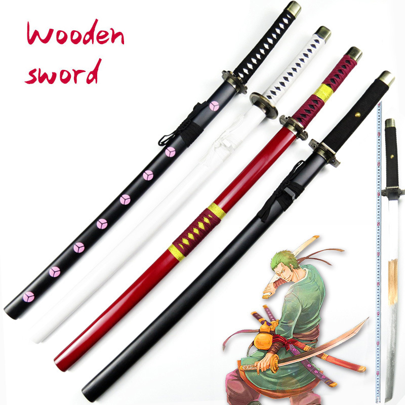 Wooden Sword Weapon One Piece Roronoa Zoro Anime Cosplay Armed Katana Espada Wood Ninja Knife Samurai Sword Prop Toys For Teens