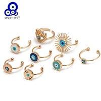 Anillo abierto ojo de la suerte turco azul, anillo de cobre, anillo de dedo de Color dorado ajustable para mujeres, niñas y hombres, joyería BE105