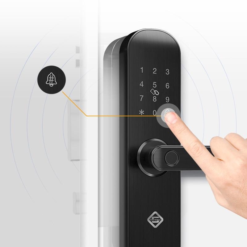 PINEWORLD Biometric Fingerprint Lock Security Intelligent Lock With WiFi APP Password RFID Unlock Door Lock Electronic