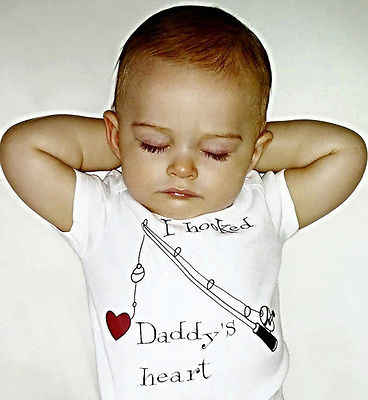 プリント手紙私はフック Daddys ハート新生児幼児服ベビーガールボーイロンパースワンピースジャンプスーツベビーロンパース