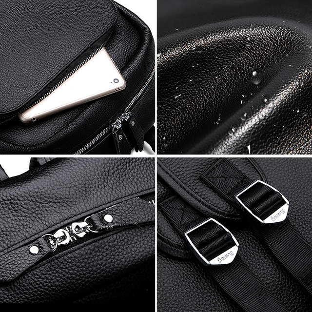 LIELANG Men's Backpack Simple High Quality Leather Backpack Male Leather Fashion Trend Youth Leisure Travel Computer Bag 5