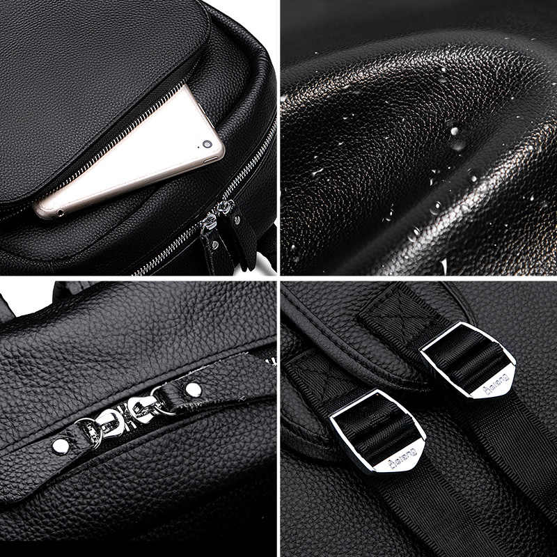 LIELANG erkek sırt çantası basit yüksek kaliteli deri sırt çantası erkek deri moda trendi gençlik eğlence seyahat bilgisayar çantası