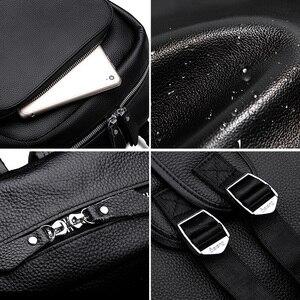 Image 5 - Leilang mochila masculina de couro, mochila masculina simples de alta qualidade feita em couro, ideal para viagens, lazer, computadores