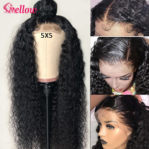 Peruvian Jerry Curl Lace Closure Human Hair Wigs 5*5 6*6 Curly Lace Closure Wig 150 Density Pre Plucked Curly Hair Wigs(China)