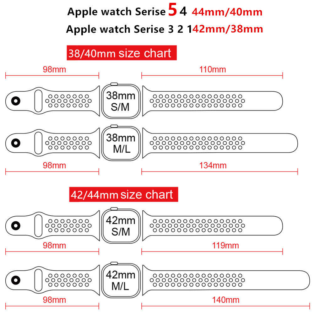 Correa deportiva para apple watch band 4 5 42mm/38mm iwatch band 44mm/40mm Correa silicona pulsera transpirable serie 5 4 3 2