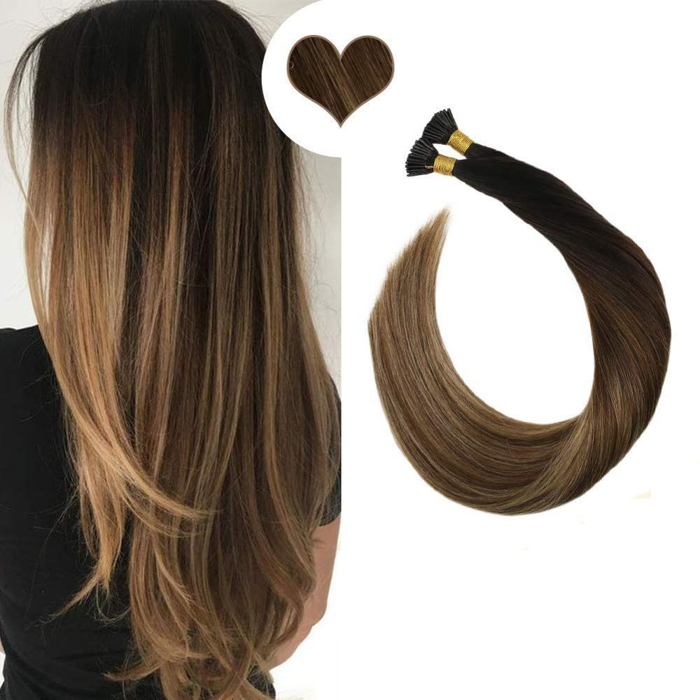 Ugeat Pre-Bond I Tip Hair Extensions Human Hair Extensions Balayage Color Hair Machine Remy Brazilian Hair Straight Hair 40G/50S