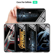 "Case For Infinix S4 S5 Lite Smart 4 3 Plus Hot 7 8 9 Play Marvel Avengers Logo Letter ""A"" Ten Years Tempered Glass Back Cover(China)"