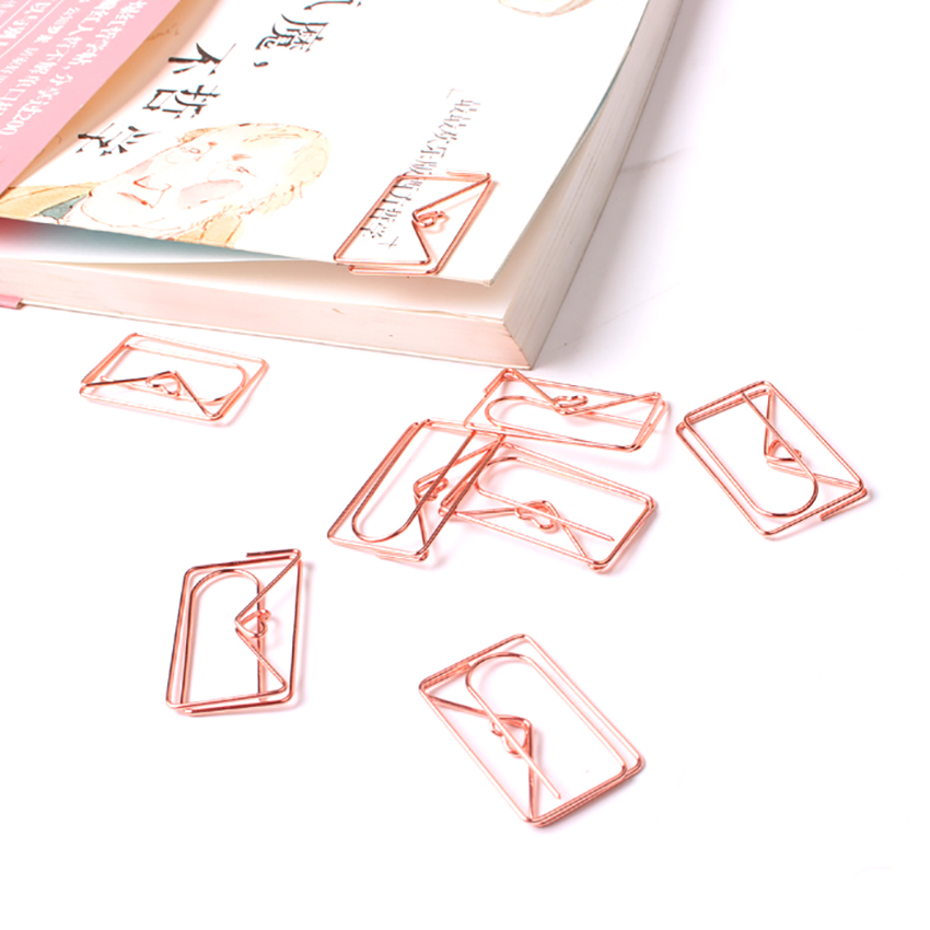 1 PC Rose Gold Envelope Shape Paper Clip Bookmark Planner Metal Clip File Organizer Clips Stationery Office School Supplies
