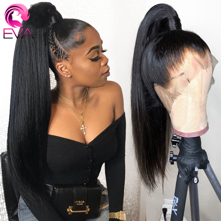 Eva Straight Full Lace Human Hair Wigs Pre Plucked With Baby Hair Glueless Full Lace Wigs Bleached Knots Brazilian Remy Hair Wig
