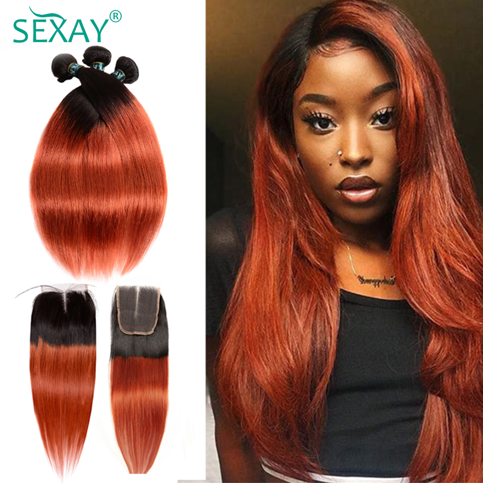 Sexay Ombre Bundles With Closure Pre-Colored 1B 350 Burnt Orange Brazilian Straight Weave Human Hair 3 Bundles With Closure Remy