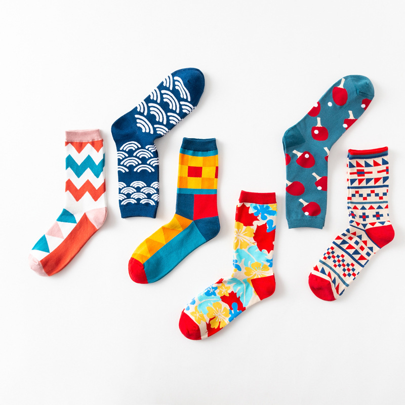 Colour Crew Cotton Happy Socks Men Women British Style Casual Fashion Novelty Art For Couple Funny Socks