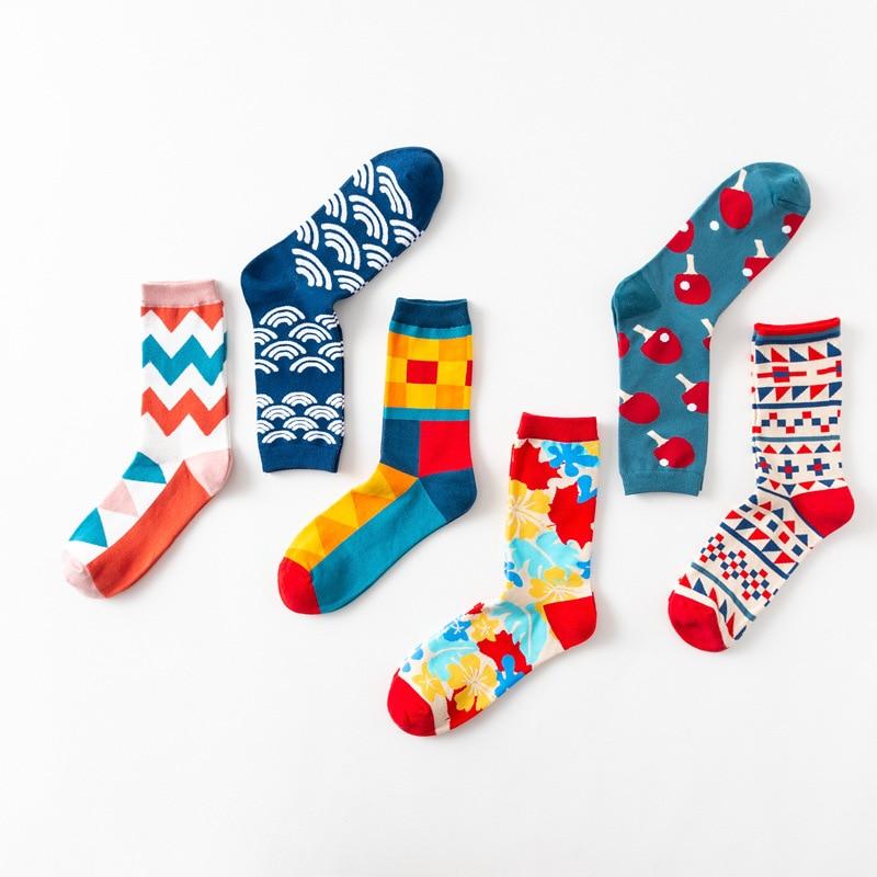 Colour Crew Cotton Happy Socks Men Women British Style Casual Fashion Novelty Art For Couple Funny Socks