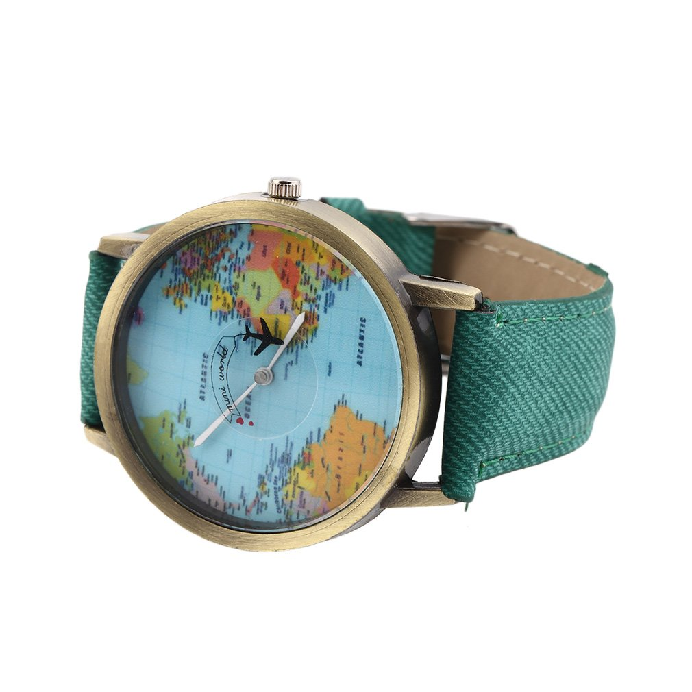 Women Men Unisex Fashion Vintage Casual World Map watch By Airplane belt Dial Analog Quartz Wrist Watch Clearance image