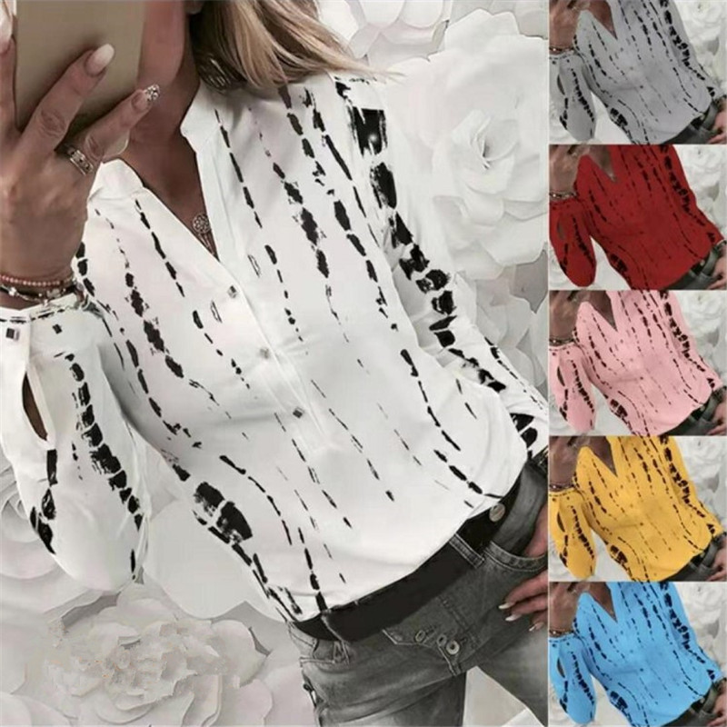 5XL Plus Size Office Ladies Shirts Autumn Spring Cardigan Striped Shirt Women Chiffon Blouses V Collar Print Tops Blusas Mujer