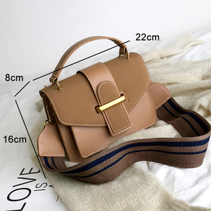 Image 4 - New Women Crossbody Bag PU Leather Waterproof Simple Female Shoulder Bag Youth Lady Work Bag Contrast Color With Interval