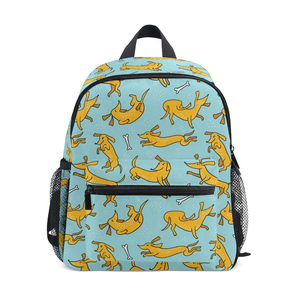 Backpack Girls Doxie Dog Printing School Bags for Kids Schoolbag Mini Book Bag Children Kindergarten Backpack Baby Shoulder Bags