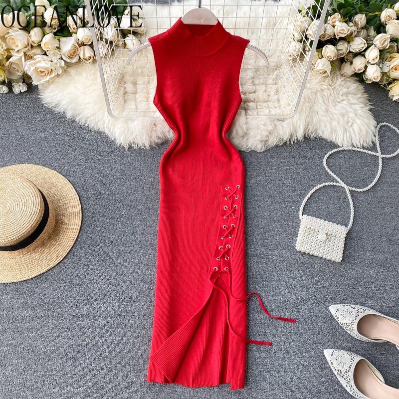 Сексуальное Бандажное платье для женщин с высоким поясом и круглым вырезом, весенне-летнее винтажное элегантное 2020 миди платье на шнуровке ...