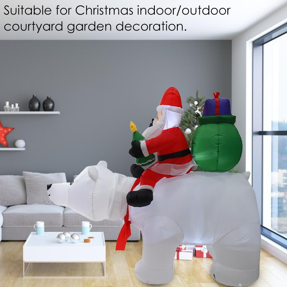 2M Oso Polar inflable Santa Claus montando Navidad muñeca inflable Año Nuevo Feliz Navidad decoración para el centro comercial - 4