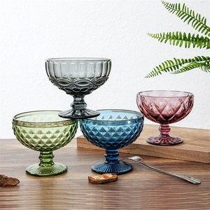 Яркая миска для салата, бокал для десертной мельницы, бокал для бокала с тиснением, чашка для мороженого, креативные европейские салатные та...