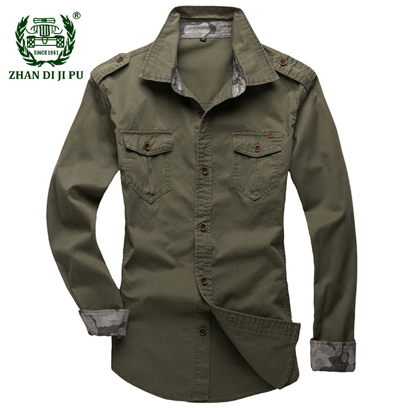 Military Army Shirt Men Casual Solid Color Slim Fit Shirts Spring Autumn Cotton Long Sleeve Shirts Camisa Masculina Plus Size