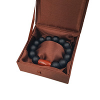 Lily Jewelry Matte Black Onyx 16mm Round Beads &Red Jaspers Men or Women Bracelet 9 with Silk Box