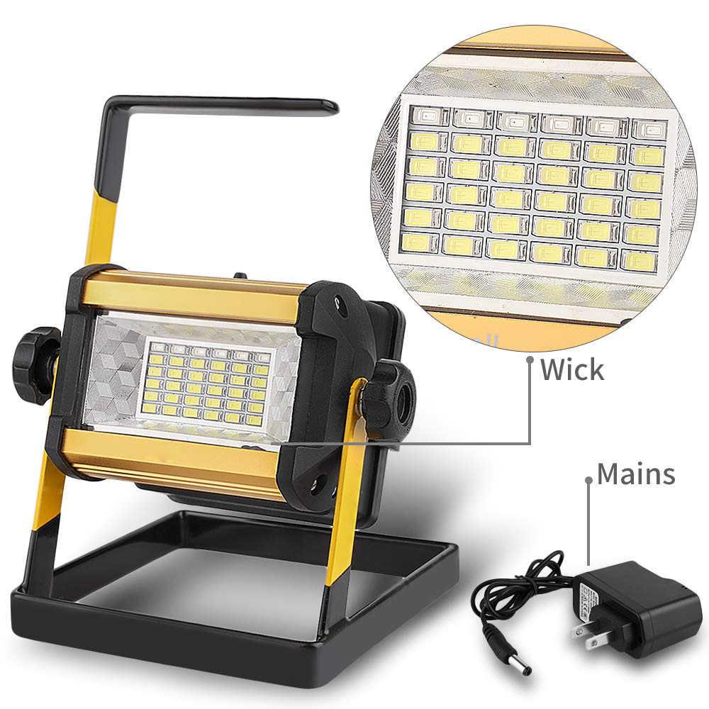 Proiettore 50W faretto a LED luce di inondazione proiettore a LED per esterni riflettore Bouwlamp lampada da costruzione ricaricabile 18650 batterie