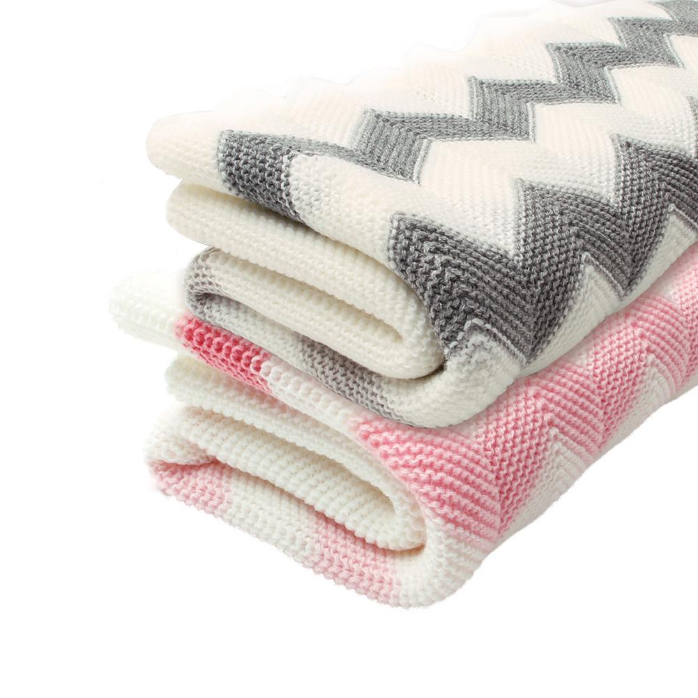 Children's Rhomboids Knitting Blanket Toddler Baby Wave Knitted Comfortable Soft Blanket For Boys And Girls (Pink-Wave)