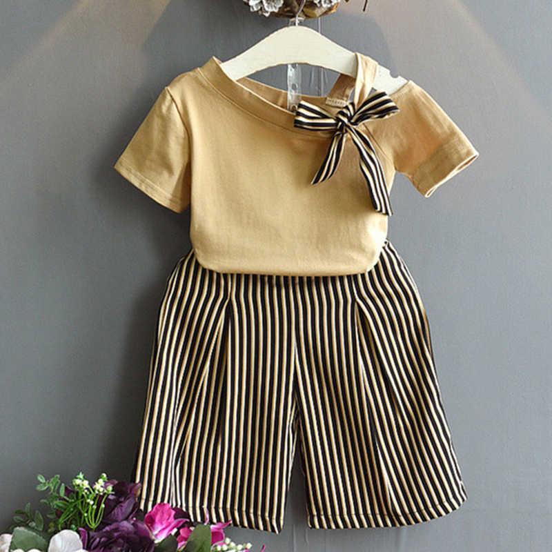 Bear Leader Meisjes Kleding Sets Zomer Mode Meisjes Mouwloze Splicing Ontwerp T-shirt + Casual Broek 2 Stuks Meisjes Kleding