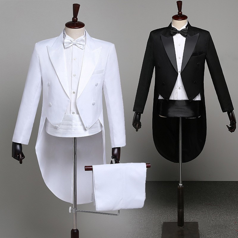Tuxedo Dress XS-XL Men Classic Black Shiny Lapel Tail Coat Tuxedo Wedding Groom Stage Singer 2-Piece Suits Dress Coat Tails