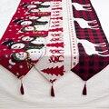 Рождественское украшение льняной Печатный настольный флаг бегун печатная кисточка для скатерти столовые приборы для дома в отеле фестивал...