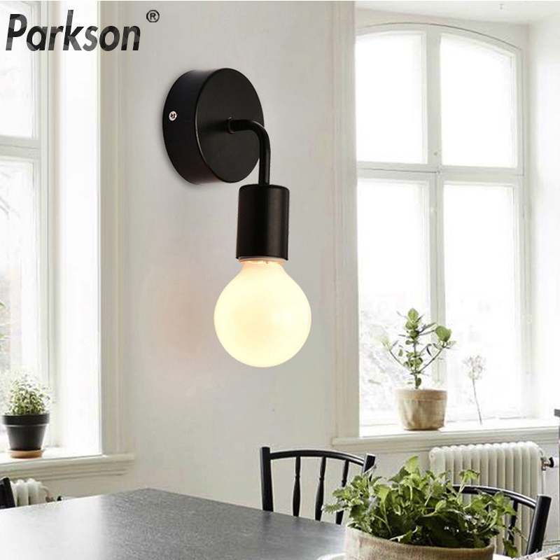 Modern Wall Lamp Simple Indoor Wall Light E27 Led Light Bulb Stylish Kitchen Decoration For Home Lamp Iron Sconce Bedside Lamp