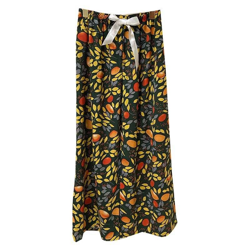 Women Wide Leg Pants Floral Printed Cute Loose Thin Sleep Pants Large Size Elastic Waist Ladies Summer Comfort Homewear Pants
