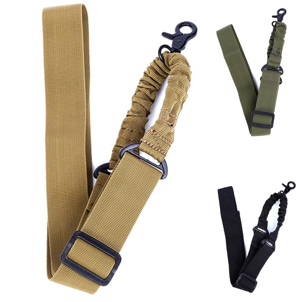 Military Army Equipment Adjustable Tactical Gun Rifle Sling One Single Point Bungee Rifle Gun Sling Strap With Hook Safety Belt