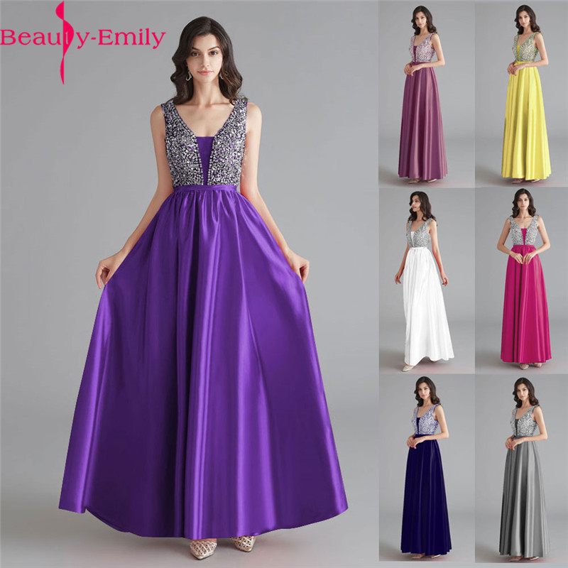 Beauty-Emily Satin Dark Pink Bridesmaid Dresses 2019 V-neck Heavy Beaded A-line Wedding Party Gown Formal Dress Robe De Soiree