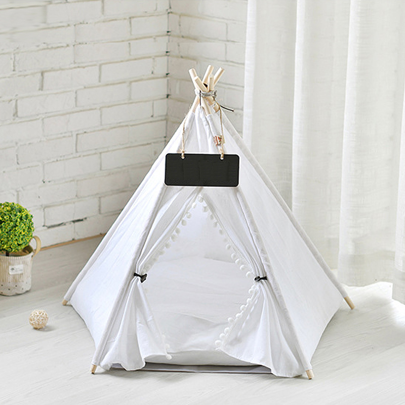 Pet Cat Dog Teepee With Cushion & Blackboard, Portable Dog Tents & Pet Houses, Wood Canvas Tipi Fold Pet Tent Small Animals Bed